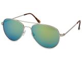 Alensa.ee - Kontaktläätsed - Hõbedad päikeseprillid Aviator - siniseroheliste klaasidega